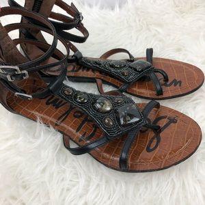 Sam Edelman 'Daisy' stone gladiator sandal black